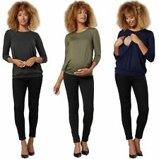 Happy Mama. Damen Maternity T-Shirt Still Lagenlook Top 3/4 Ärmel. 1257