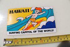 New listing Hawaii Surfing Capitol of World Post Card Rare Hawaiian Vintage Surfing Sticker