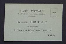 CPA carte publicitaire ROHAIS pharmacien PARIS pharmacie Apotheke pharmacy