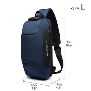Mens Anti-theft Lock Shoulder Chest Bag With USB Oxford Travel Backpack USA