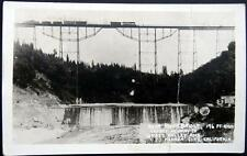 GRASS VALLEY & NEVADA CITY CA~1900's TRAIN ON TOP OF BEAR RIVER BRIDGE~RPPC