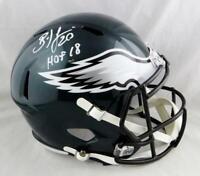 Brian Dawkins Autographed Eagles F/S Speed Helmet w/HOF - Beckett Auth *White
