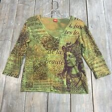 Glima womens 3/4 sleeve green v neck blouse top cotton USA adult L large