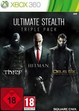 XBOX 360 ULTIMATE Stealth Triple Pack Thief Hitman Absolution DEUS EX COME NUOVO