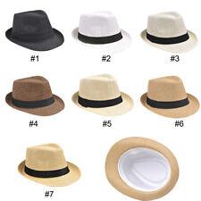 Men/Ladies Fedora Travel Hats Straw Panama Style Sun Beach Hat 7 Colors