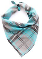 Blue Tartan Puppy Dog Bandana - Tie on Classic Scarf - Small-Large