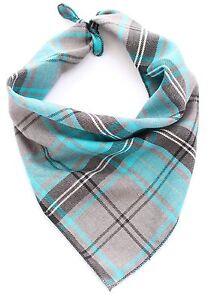 Blue Tartan Puppy Dog Bandana - Tie on Classic Scarf - Small-Large