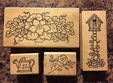 Lot 4 RUBBER STAMPS Flowers, Birdhouse, Watering Can, Rose, Flower