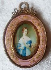 Portrait Miniatur der Broness Le Despenser, Gouache, im emailierten Prunkrahmen