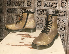 Doc Martens Delaney Gold Glitter Lace Up InSide Zipper Boots Mens 4 Ladies 5 US