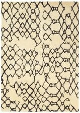 Cream Soft  Large Hand Woven Area Rugs Geometric 100% Wool Living Room Area Rug