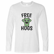 Festival Long Sleeve Free Hugs Slogan With Cute Monster Hippy Cuddles Love Art