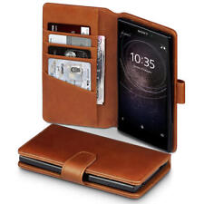 Luxury Real Leather Wallet Case for Sony Xperia L2 - Cognac