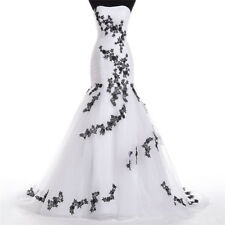 Black White Mermaid Strapless Organza Wedding Dresses Bridal Gown Lace Applique