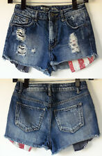 Mossimo High Rise Blue Denim Ripped Distressed Jean Shorts w/Flag Pocket Liner 3