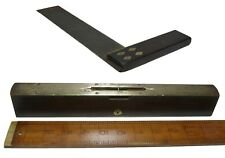 More details for large antique carpenters try square and brass bound level, wood and brass