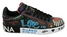 DOLCE & GABBANA Shoes Black Painted Leather Casual Sneakers Womens EU39 / US8.5