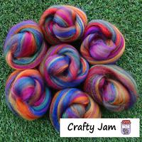 Needle Felting Rainbow Blend Corriedale/Merino. Felting Wool Rovings 45g