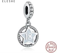 18TH BIRTHDAY CHARM STERLING SILVER 925 GIFT BIRTHDAY LOVE CRYSTAL CZ PAVE PARTY