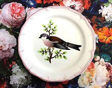 Vintage Ceramic Songbird Bird Italy Signed Hand Painted Fruit Dessert Plate A2