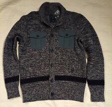 Guess Men's Jet Black Multi Dawson Mock Cardigan Sweater Size Large