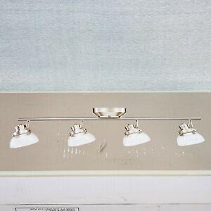 "Monteaux Lighting 31½"" Glass & Brushed Nickel Integrated 4 Light LED Track Light"