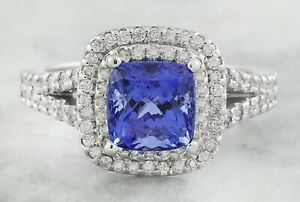 2.58 Carat Natural Tanzanite 14K Solid White Gold Luxury Diamond Ring