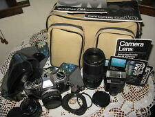 Vintage Collectible Olympus OM10 Camera 35mm SLR 3 Lens Zuiko Hoya 80-200 Zoom