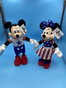 Mickey And Minnie Disney Patriotic Plushies USA Fourth Of July Decoration NEW