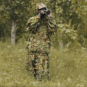 Tenues Ghillie Feuille Camo Camouflage Vêtements 3D Jungle Chasse Forêt Adultes