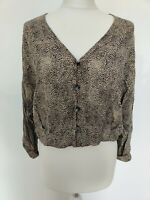 Zara Women Top Crop Blouse Animal Print Cheetah V Neck Button Dolman Blogger S