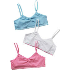 Just Essentials Girls Back To School 3 Pack Cotton Crop Bra Tops Mixed Colours