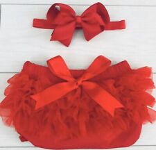 Baby Girls Frilly Tutu Knickers & Bow Clip Red My 1st Christmas Outfit Prop Set