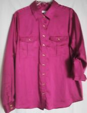 CHARTER CLUB Women's Plus Silky Long Sleeve Purple Shirt Size 18