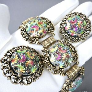 VTG Judy Lee Iridescent Carnival Glass Bracelet Earring Set