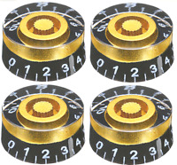 4Pcs Guitar Volume Tone Control Black Gold Speed Knobs for LP SG Epiphone + more