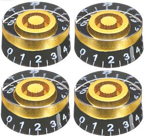 4Pcs Guitar Volume Tone Control Black Gold Speed Knobs for LP SG Epiphone