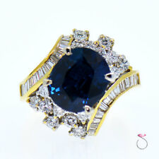 Natural Blue Oval Sapphire & Diamond Ring, 7.16 ct. 18K Yellow Gold Ring.