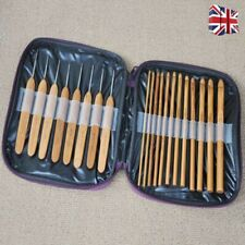 20Pcs Bamboo Crochet Hook Set Handle DIY Wooden knitting needle with case 1-10mm
