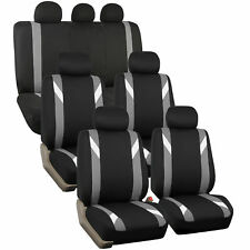 Premium Modernistic Gray Black Auto Car SUV Seat Covers 3 Row Set