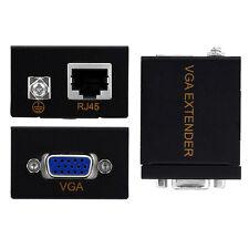 60M VGA Signal to RJ45 Signal Extender Ethernet Cable Transmitter Receiver Set