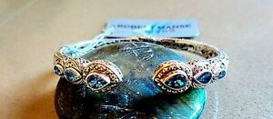 Sterling Silver with 18K Solid Gold accents Blue Topaz Pear-Cut Cuff
