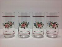 Vtg Libbey Pfaltzgraf Tea Rose Flower Floral 16 Oz Tumbler Glass Set Of 4
