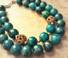 AZURITE MALACHITE TURQUOISE NECKLACE BLUE ISH GREEN CHUNKY African Brass Beads