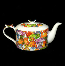Kaffeekanne Teekanne Kanne Jameson&Tailor Brillant  Porzellan Katzen bunt lustig