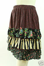 VTG 90s LUCIA LUKKEN Steampunk Calico Tiered Ruffled RAYON SKIRT M