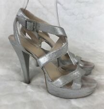 Nine West Silver Strappy Shoes 6 1/2 Platform High Slim Heels Prom Occasion 6.5
