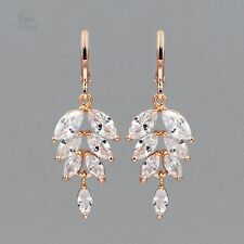 ROSE GOLD Plated Clear Cubic Zirconia CZ Wedding Bridal Drop Dangle Earrings 049