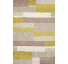 John Lewis Grid Rug 110cm x 170cm - Ochre Brown & Grey B+