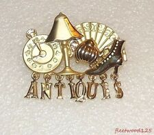 """Goldtone """"Antiques"""" Signed AJC Brooch / Pin Jewelry Estate Lamp Boot Clock"""